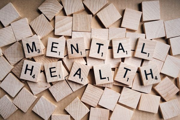 Mental Health spelled out in Scrabble tiles