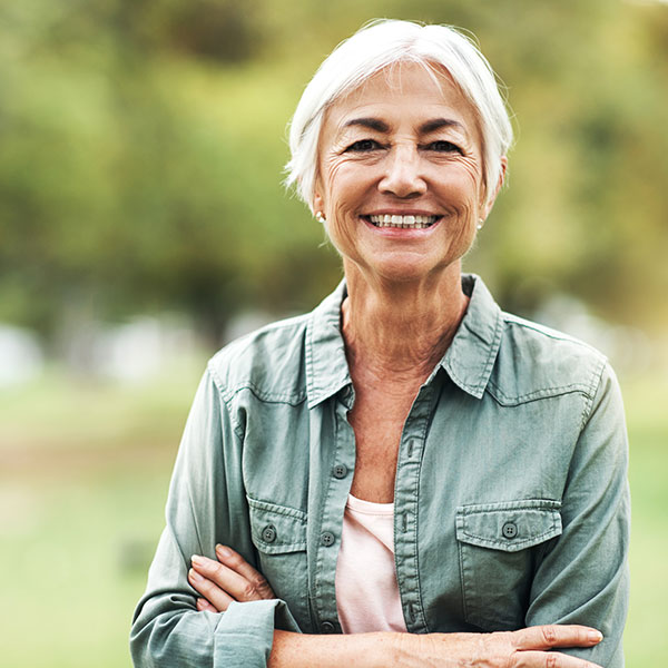 Mature woman smiling at camera