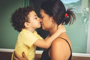 Mom and son touching noses