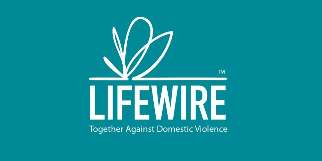 White LifeWire logo on teal background